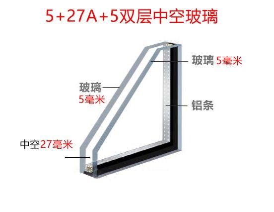 断桥铝中空玻璃5+27A+5双玻是什么意思?